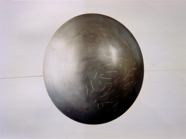 Gallery Hooghuis Arnhem. Steel bowls, diameter 36 cm, silver inlay. 1 of 4 series of 5 bowls.1989