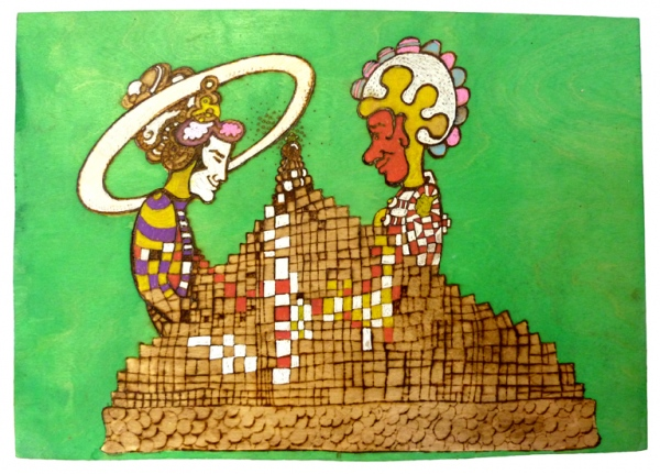 'Growing up in public'.  Pyrography in multiplex, acrylic paint.  40,5 x 57 x 0,5 cm. 2009.