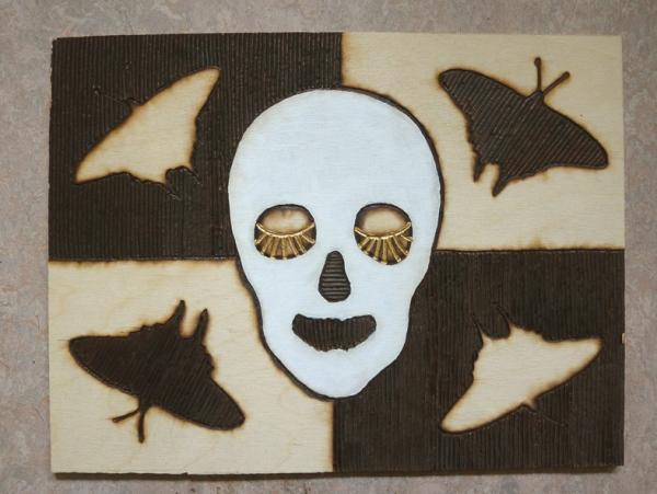 'Night and Day'.  Pyrography in multiplex, acrylic paint. 31 x 40,5 x 0,4 cm. 2012.