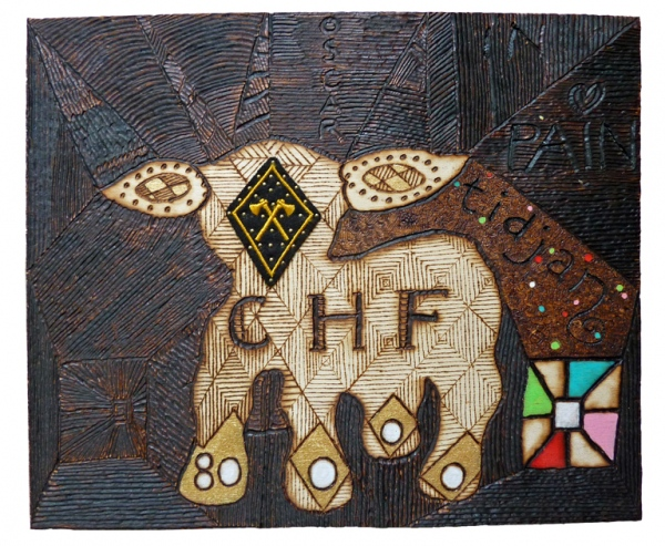 'CHF. 80.000, = '. Pyrography in multiplex, acrylic paint, textile application. 40,4 x 15 x 0,4 cm. 2013. Private collection.