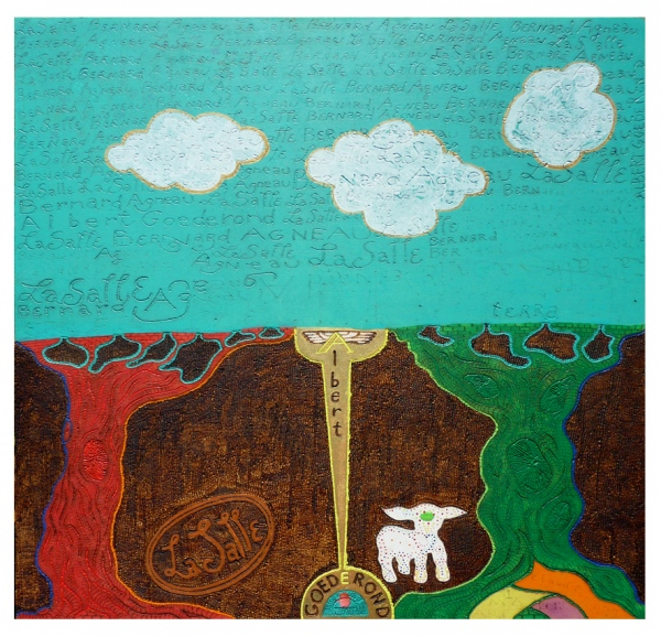'Cloudfunding'.  Pyrography in multiplex, acrylic paint.  76 x 76 x 0,4 cm. 2012.